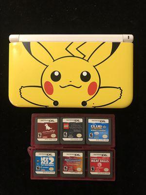 Nintendo 3DS XL Yellow Pikachu Edition+6 Games Nintendogs LEGO POTC Ice Age 2+more for Sale in Atlanta, GA