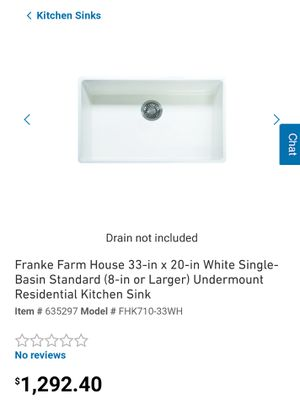 Franke FHK710-33WH Farmhouse 33x20x 10-1/8 Small Chip!!! for Sale in Fontana, CA