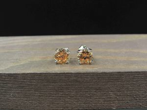 Sterling Silver Light Brown Cubic Zirconia Stone Earrings Vintage Wedding Engagement Anniversary Beautiful Everyday Minimalist Cute for Sale in Everett, WA