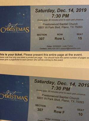 2 Tickets to tonight 7:30 GIFT OF CHRISTMAS Program at PRESTONWOOD for Sale in McKinney, TX