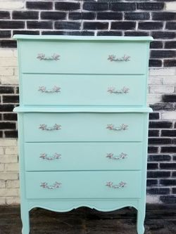 French provincial/Shabby chic. Dresser.5 Drawers. Sea foam green for Sale in Costa Mesa,  CA