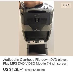 Audiobahn Overhead Flip down DVD player. Play MP3 DVD VIDEO Mobile 7-inch screen for Sale in Marysville, WA
