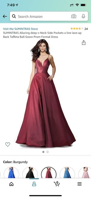 SUMINTRAS Alluring deep v-Neck Side Pockets a line lace-up Back Taffeta Ball Gown Prom Formal Dress for Sale in UPPER ARLNGTN, OH