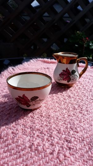 Wade Hand Painted Rose Cream and Sugar Set With Copper Lust Made in England for Sale in Edgewood, WA
