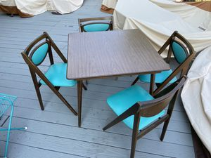Vintage mid-century Stakmore wood folding table & 4 teal chairs for Sale in San Diego, CA