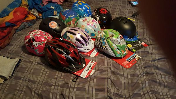 Helmets $10dollars brand new never used summers coming make sure your kids are biking safely.