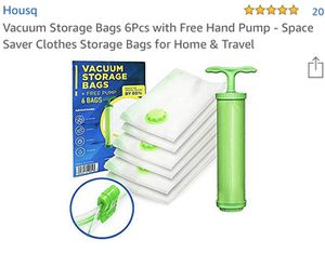 Vacuum Storage Bags x 6 w/Free Pump for Sale in Flower Mound, TX