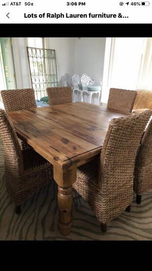 Gorgeous antique pine table & 6 seagrass chairs for Sale in Atlanta, GA