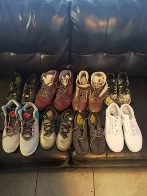 Jordans lebron's vans timberlands Michael Kors Kevin Durant Nike's and Adidas different sizes from 5y to 11.5 for Sale in Fort Lauderdale, FL