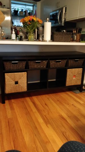 IKEA Solid Pine Black Console/Sofa Table with wicker baskets for Sale in Seattle, WA