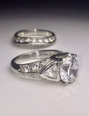 Ladies Platinum Wedding Ring and Band for Sale in Millerton, NY