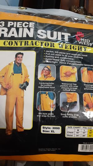 3 piece rain suit contractor weight xl for Sale in Stockton, CA