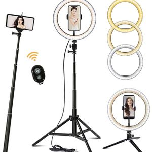 """Ring Light 10.2"""" with 62'' Upgraded Tripod Stand/Phone Holder/Remote Control, Maxztill Dimmable Halo Light for Live Stream/YouTube Video/Selfie Photog for Sale in Whittier, CA"""