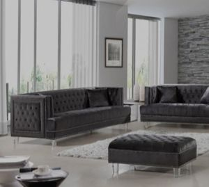📣3-6 DAYS DELİVERY📣👉 ♥️$39 down payment🎈- Lucas Velvet Gray Living Room Set for Sale in Laurel, MD