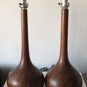 DANISH MODERN TEAK SCULPTURAL TABLE LAMPS 1960s MADE IN DENMARK for Sale in Pasadena, CA