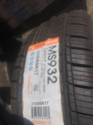 21565r17 tires and black steel universal rims new never used for Sale in Tacoma, WA