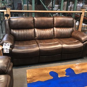 New & In Stock! Gel Leather Reclining Sofa! $599 For Manual & $799 Automatic! Available In Black for Sale in Vancouver, WA
