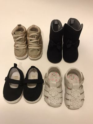Lot of baby girl shoes size 3 boots sneakers sandals for Sale in Odessa, TX