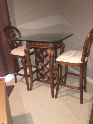 Bar Glass Top Table and Two Bar Stools for Sale in Manassas, VA