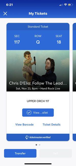 COMEDY SHOW CHRIS DELIA 2 TICKETS for Sale in Miami, FL
