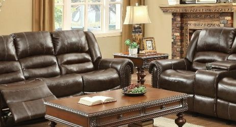 [SPECIAL] Center Hill Brown Bonded Leather Reclining Living Room Set for Sale in Washington,  DC