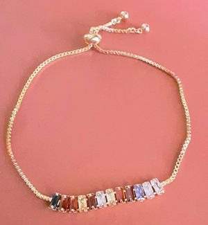 Shipping or PickUp: New goldtone red, pink and amber-color acrylic ankle or wrist bracelet with adjustable pull cord for fit for Sale in Fullerton, CA