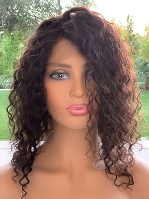 100% Raw INDIAN REMY HD LACE 14 inches WATER WAVE DEEP CURLY WIG for Sale in West Hollywood, CA