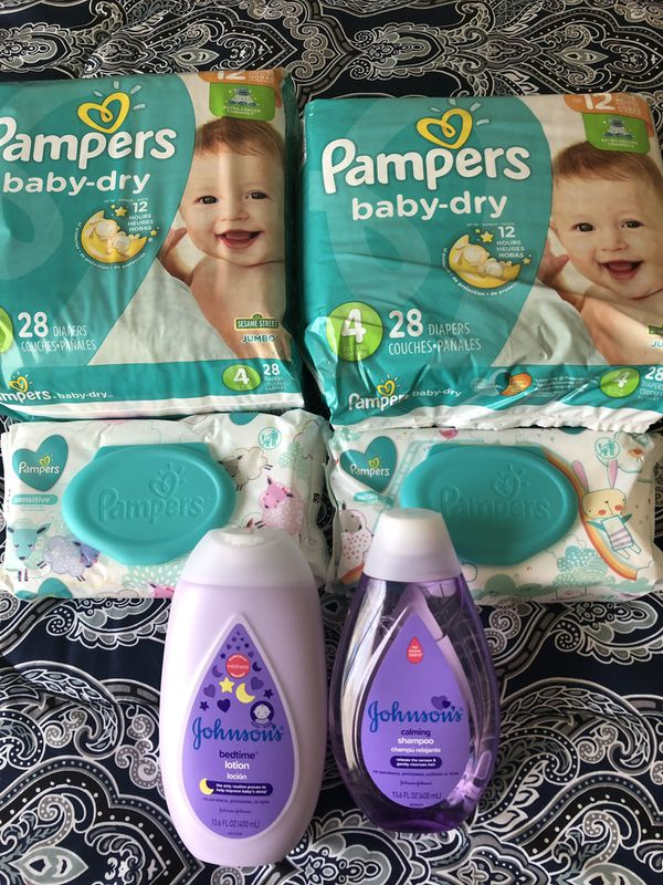 Pampers no 4 , wipes , Johnson and Johnson