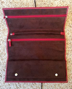 RED LEATHER TRAVEL JEWELRY ROLL BAG CLUTCH SUEDE INTERIOR RING BAR EARRING STRAP for Sale in Vestal, NY