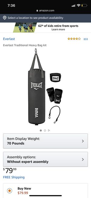 70lb everlast punching bag (with gloves) for Sale in Belleair, FL