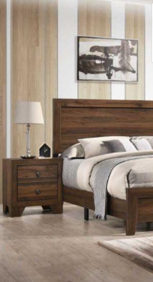 4PC QUEEN BEDROOM SET, QUEEN BED FRAME, ONE NIGHTSTAND DRESSER AND MIRROR NO MATTRESS for Sale in Scottsdale, AZ