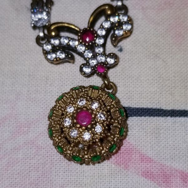 Ruby an Emeralds, white Topaz Pendant