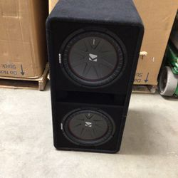 """KICKER - CompR Dual 12"""" Dual-Voice-Coil 2-Ohm Subwoofers with Enclosure - Black for Sale in Sylmar,  CA"""