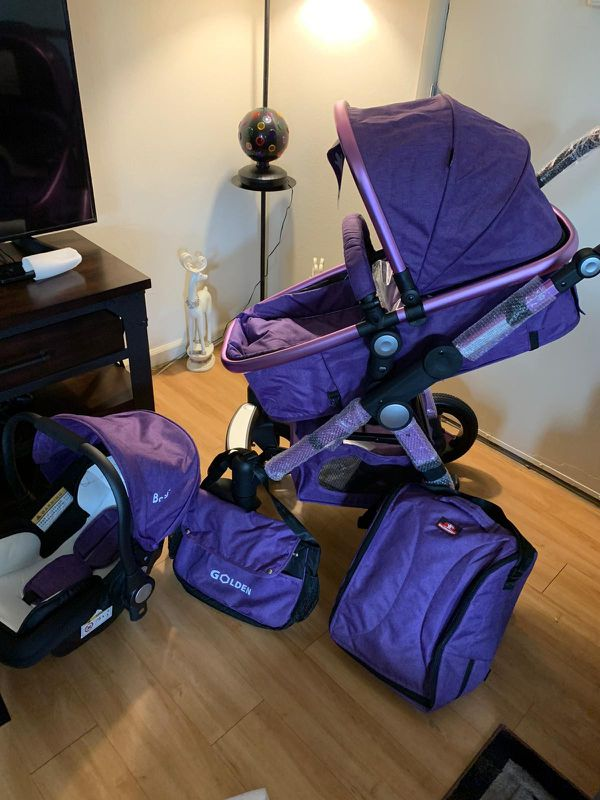 car seat and stroller and bed
