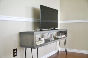 Mid Century Modern Grey Tv console table (solid wood) for Sale in Lago Vista, TX