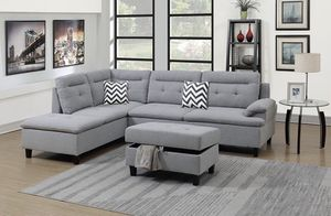 Brand New! 3 Piece Gray Luxury Sectional With Ottoman 2 Accent Pillows for Sale in Orlando, FL