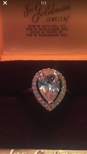 Tear drop shaped lab white sapphire with zirconias beautiful engagement ring on plated silver sz8 for Sale in Northfield, OH