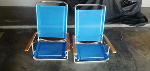 X2 CABANA BEACH CHAIRS reclining bed flat low profile folding chair picnic home wood arms camping for Sale in La Habra Heights, CA