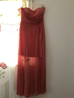 Like NEW STRAPLESS CORAL LONG DRESS for Sale in Sudley Springs, VA