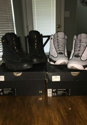 2 pairs of Jordan. 1 all black pro strong size 11.5, 1 white,grey,black 11.5 for Sale in Kyle, TX