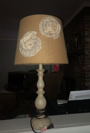 Cream lamp with burlap lamp shade and cream flowers for Sale in Nashville, TN