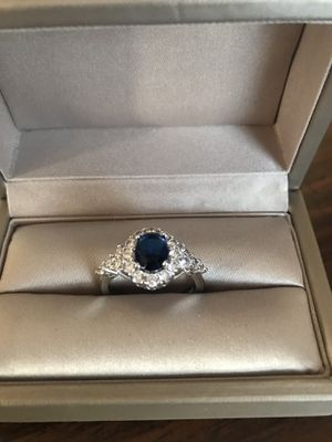 14K white gold over 925 stamped sterling silver with blue sapphire and simulated diamonds ring size 7 for Sale in Wood Dale, IL