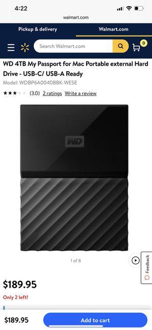 WD 4TB My Passport for Mac Portable external Hard Drive - USB-C/ USB-A Ready for Sale in Mesa, AZ