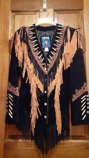 Women size 10 leather Fringe jacket for Sale in Overland Park, KS