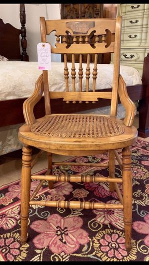Antique Tiger Oak Spindle Back Chair w Cane Seat for Sale in Lehighton, PA