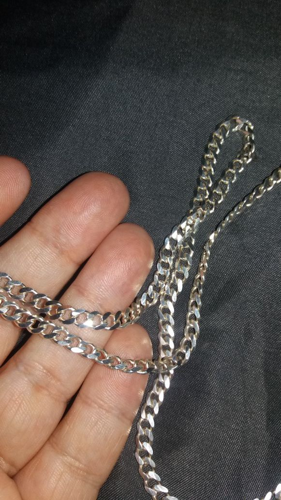 STERLING SILVER SOLID CUBAN CHAIN