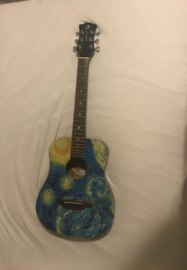 "Youth guitar Vincent Van Gogh ""Starry Night"" made by Luna guitars"
