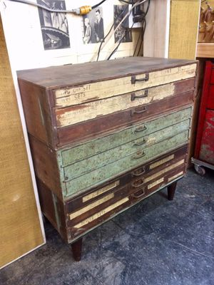 Vintage flatfile for artist or as a toolbox or parts storage cabinet antique for Sale in Los Angeles, CA