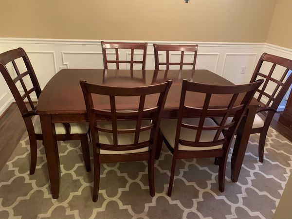 Dining table, 6 chairs, and leaf