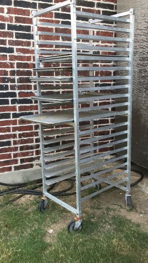 Tray rack Inox full size (70 in x 26 in ). Gift 6 stainless steel tray for Sale in McKinney, TX
